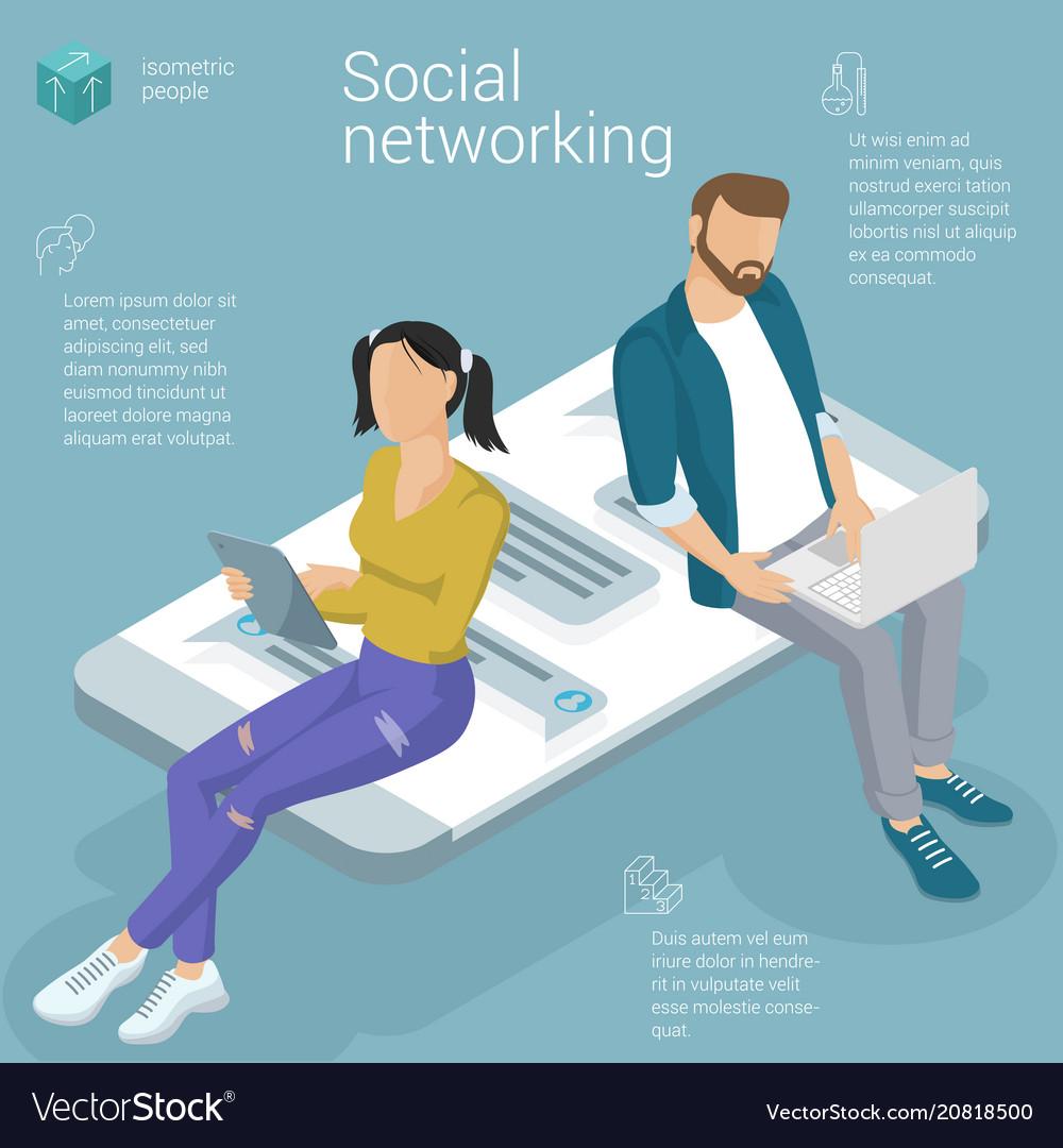 Flat design social network template