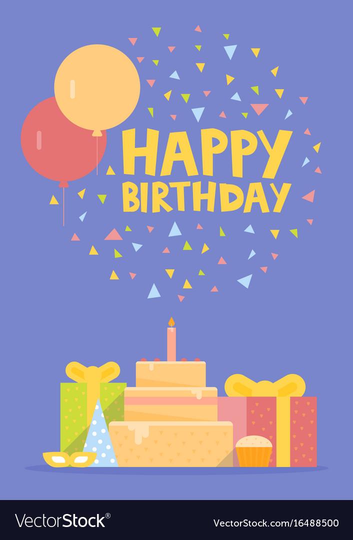 Happy birthday card design with ballons confetti