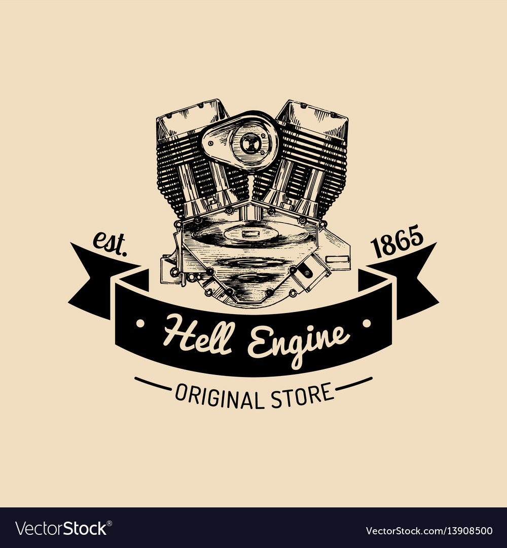 Hell engine vintage motorcycle logo biker