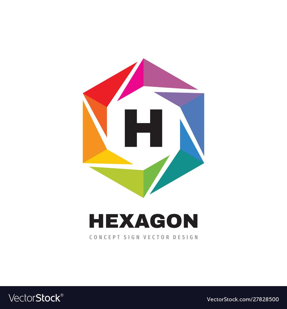 Hexagon colorful logo template design h letter
