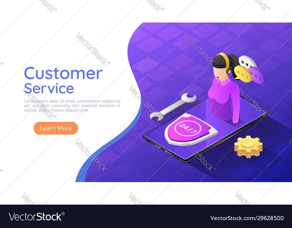 Isometric web banner female customer service