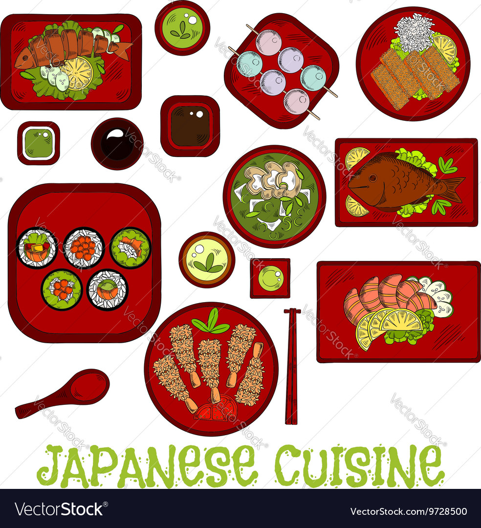 Japanese seafood dinner with dessert sketch icon