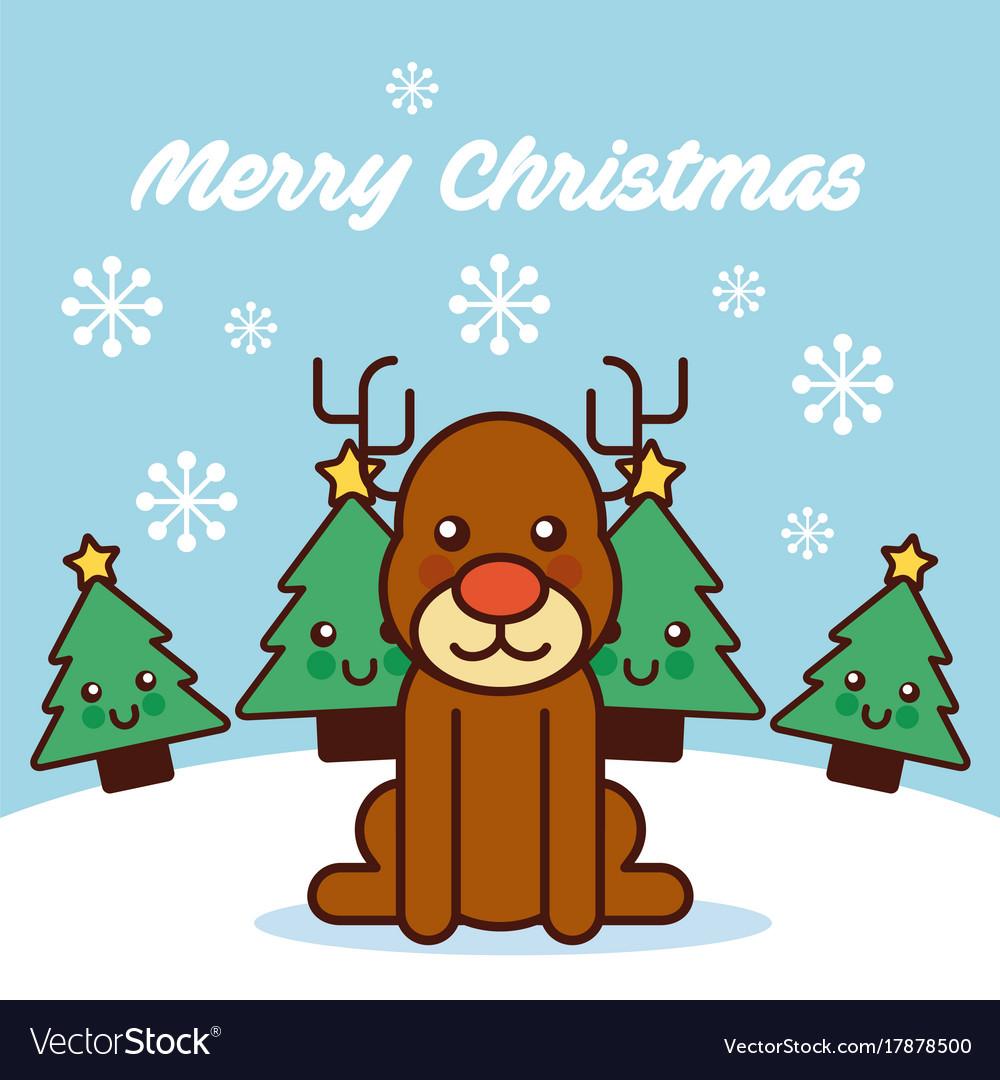 merry christmas cute reindeer sitting trees vector image
