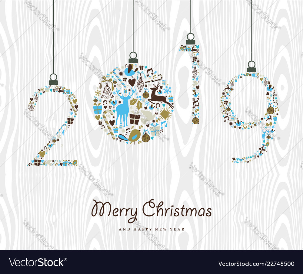 Merry christmas happy new year 2019 retro ornament