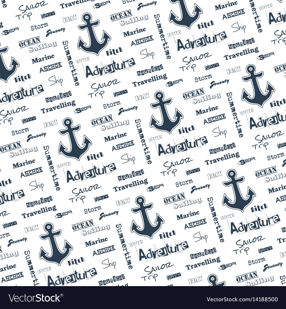 Monochrome seamless pattern with anchor vector image