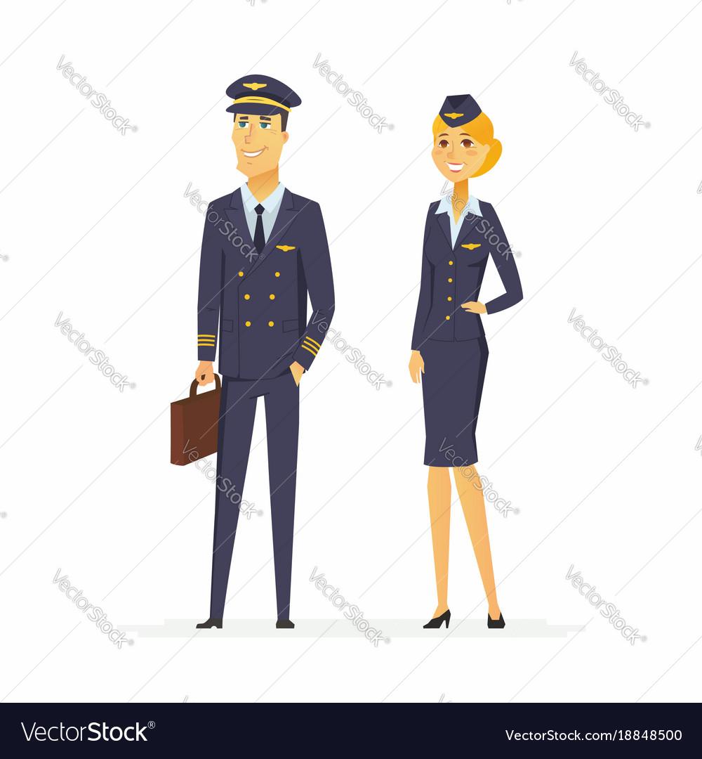 Pilot and flight attendant - cartoon people