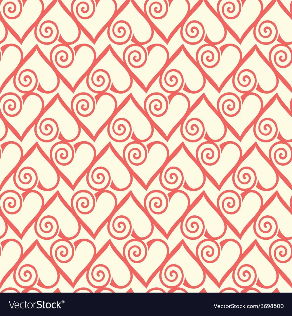 Seamless pattern with stylized hearts Romantic