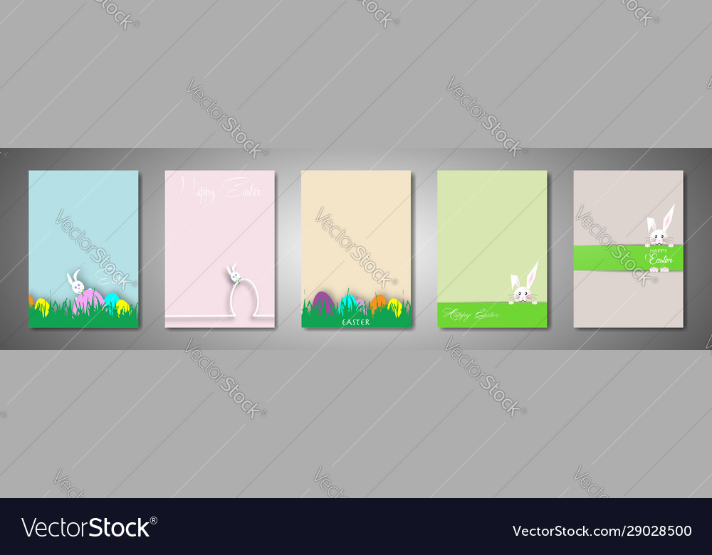 Set happy easter cartoon cards paper cut style