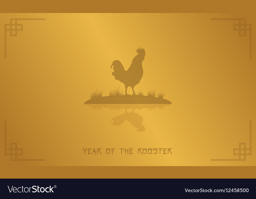 Silhouette of rooster on gold backgrounds