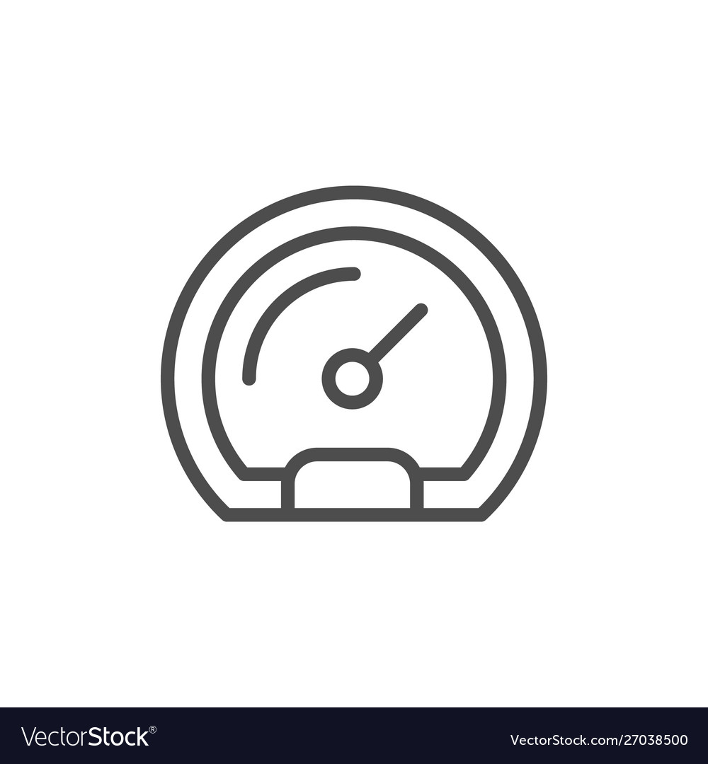 Speedometer line icon and race concept