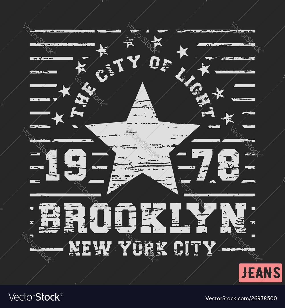T-shirt print design brooklyn star vintage stamp