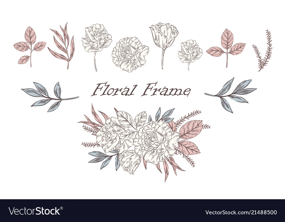 Vintage floral set with different plants