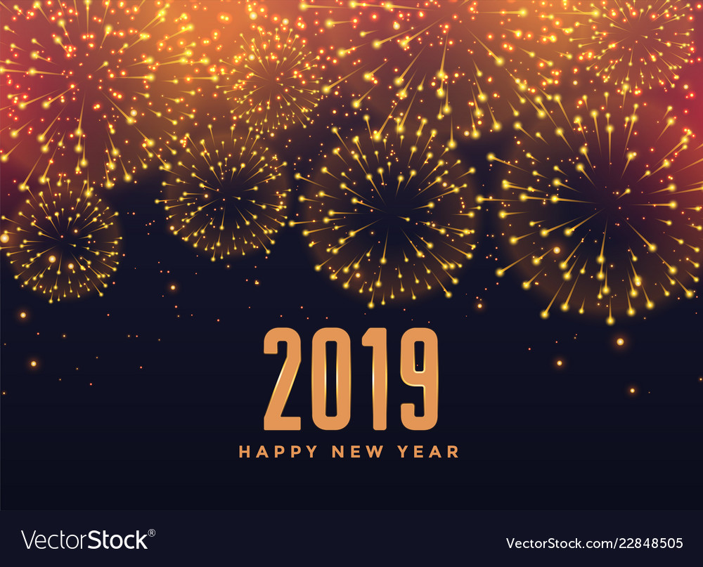 2019 happy new year fireworks background vector image