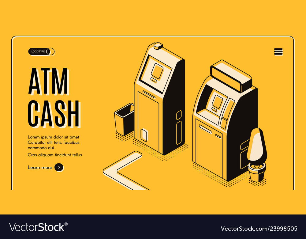Atm cash withdraw service isometric website