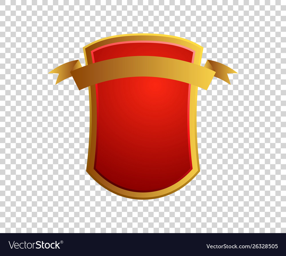 Blank red and gold shield and ribbon on