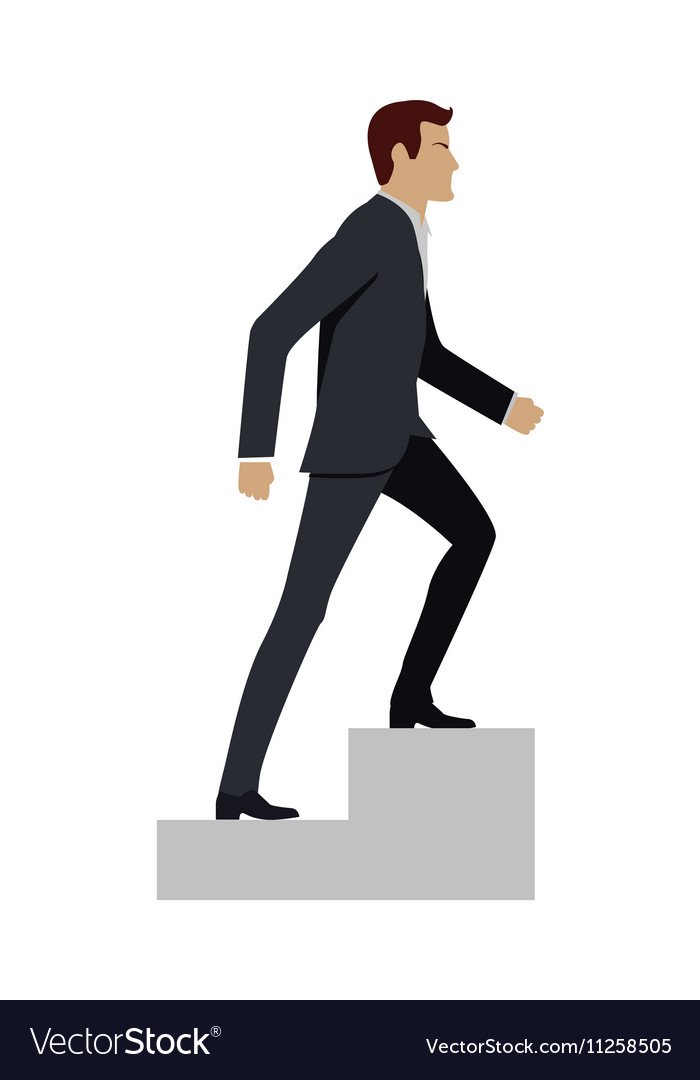 Businessman Walking Up Stairs vector image