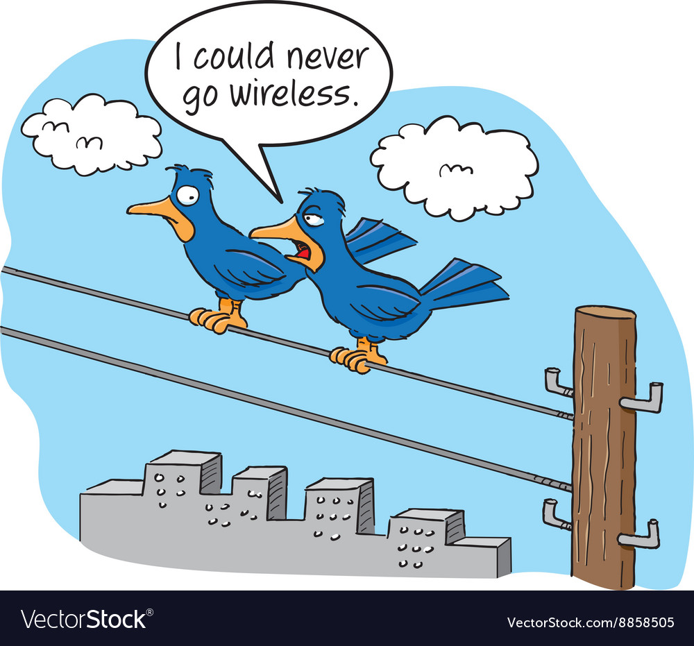 Cartoon of two birds talking on a telephone wire Vector Image