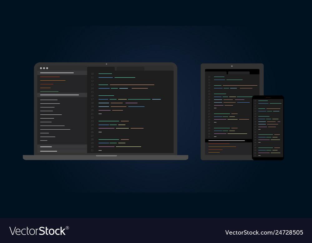 Cross platform software development and coding vector image