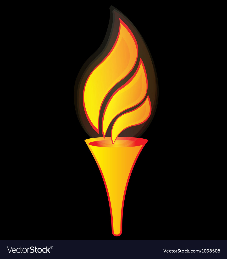 Flame torch for sports logo vector image