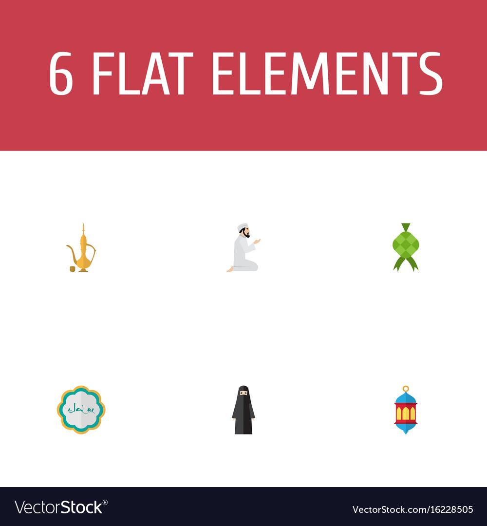Flat icons praying man pitcher decorative and
