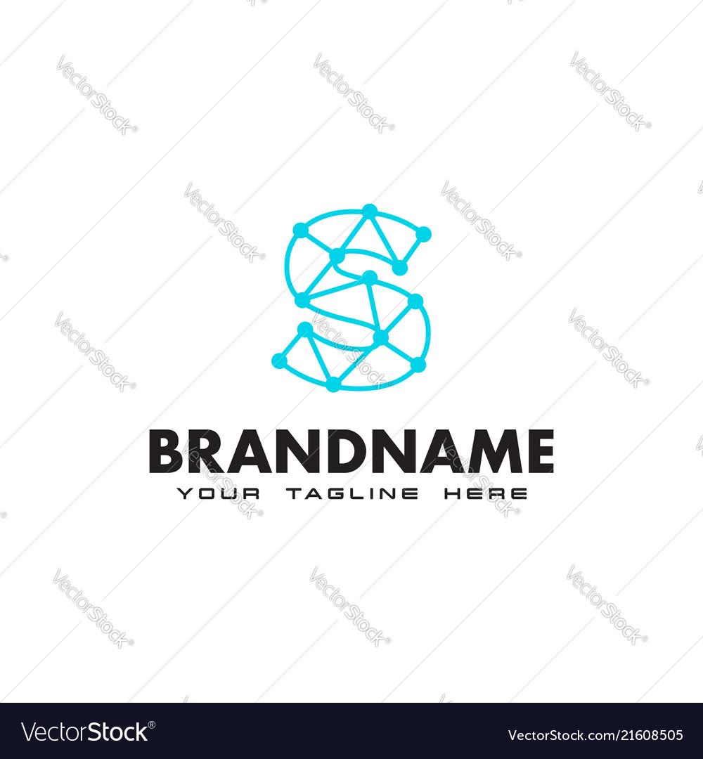 Letter s dot network connection logo design