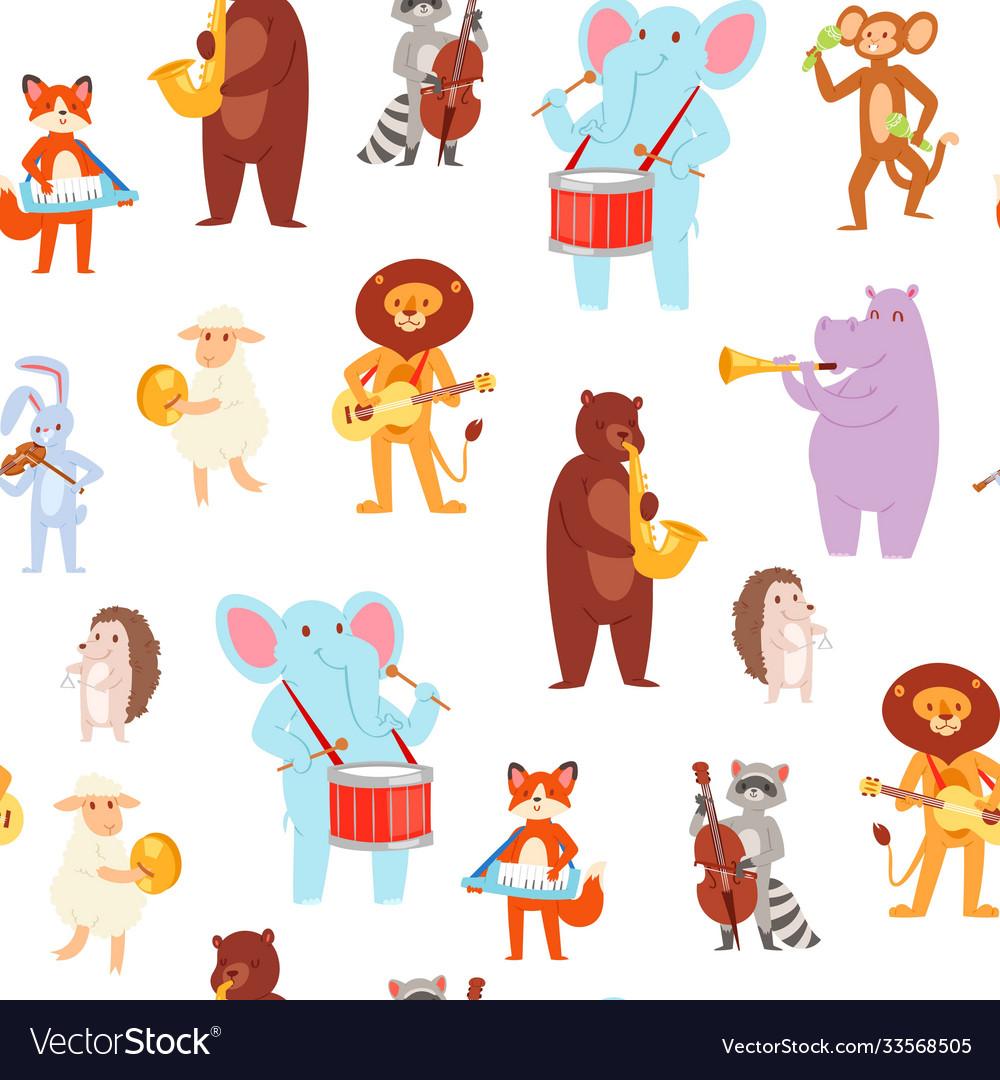 Musical animal wallpaper pattern seamless cute