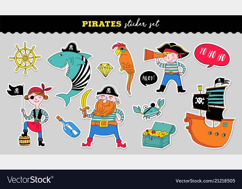 Pirate collection of hand drawn stickers