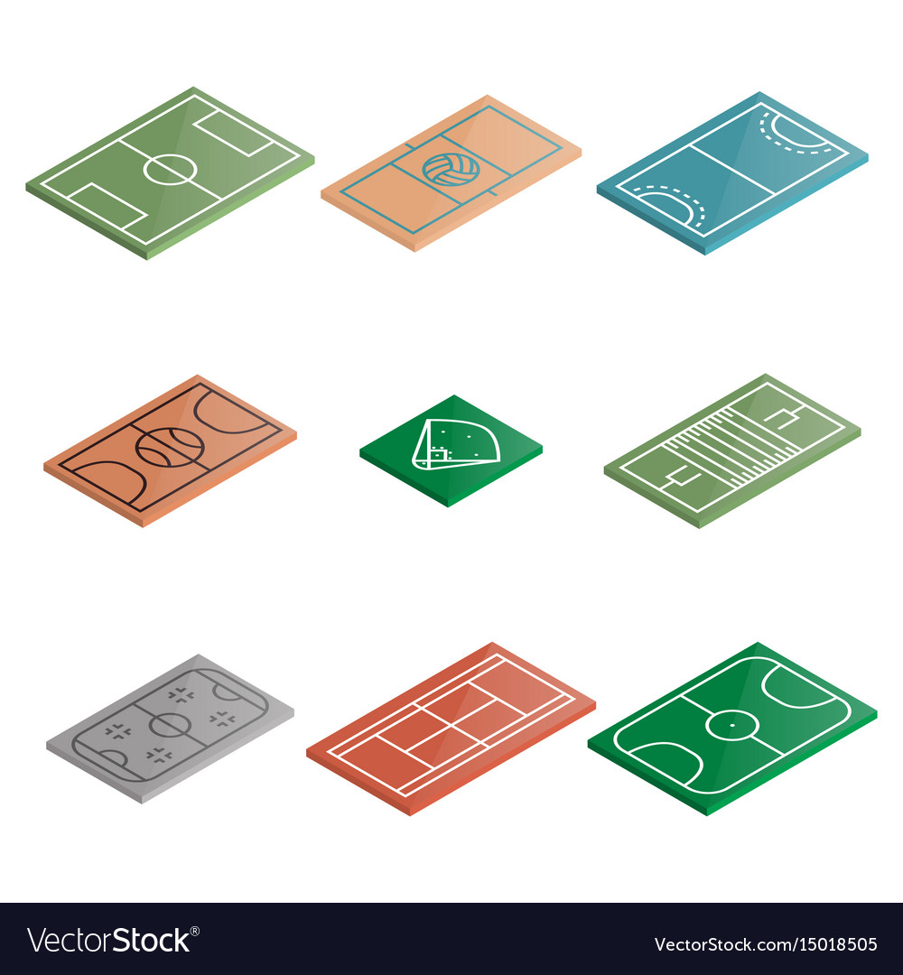 Set of icons playgrounds in isometric