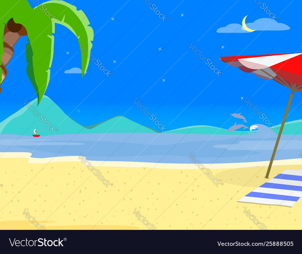 Summer beach background and night time landscape