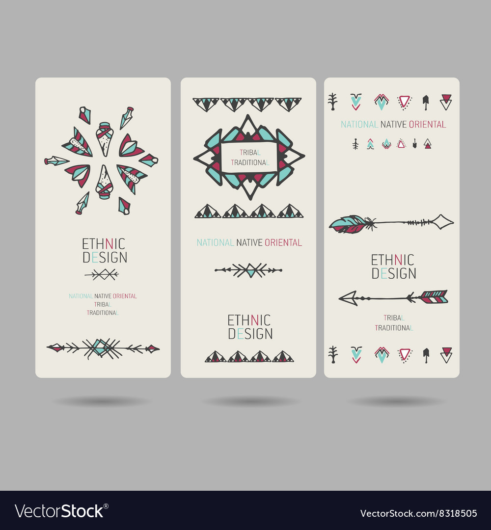 Tribal vintage ethnic banners or invitation cards