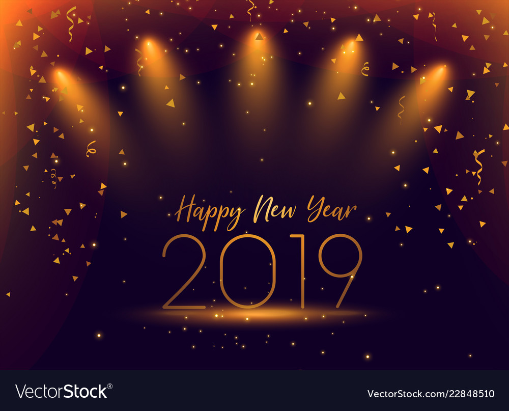 2019 new year celebration confetti background vector image
