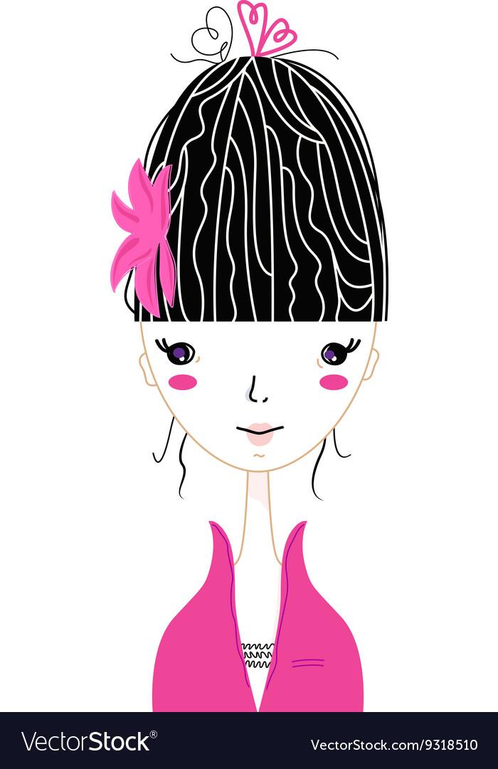Beautiful Japan Girl stylized vector image