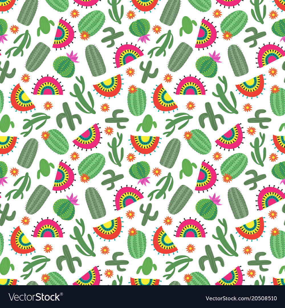 Bright mexican style seamless pattern with cactus