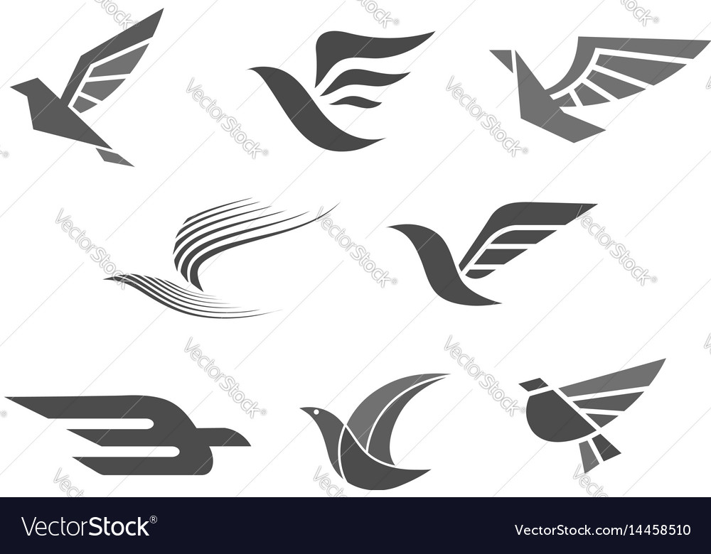 Business brand icons of bird wings
