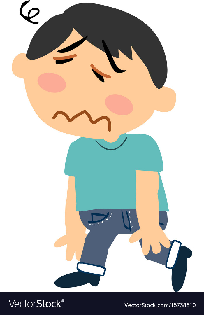 Cartoon character of a dizzy asian boy vector image