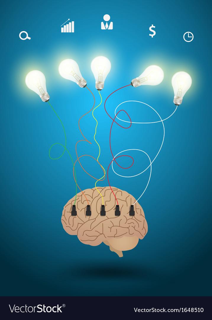 Creative brain with light bulb idea concept vector image