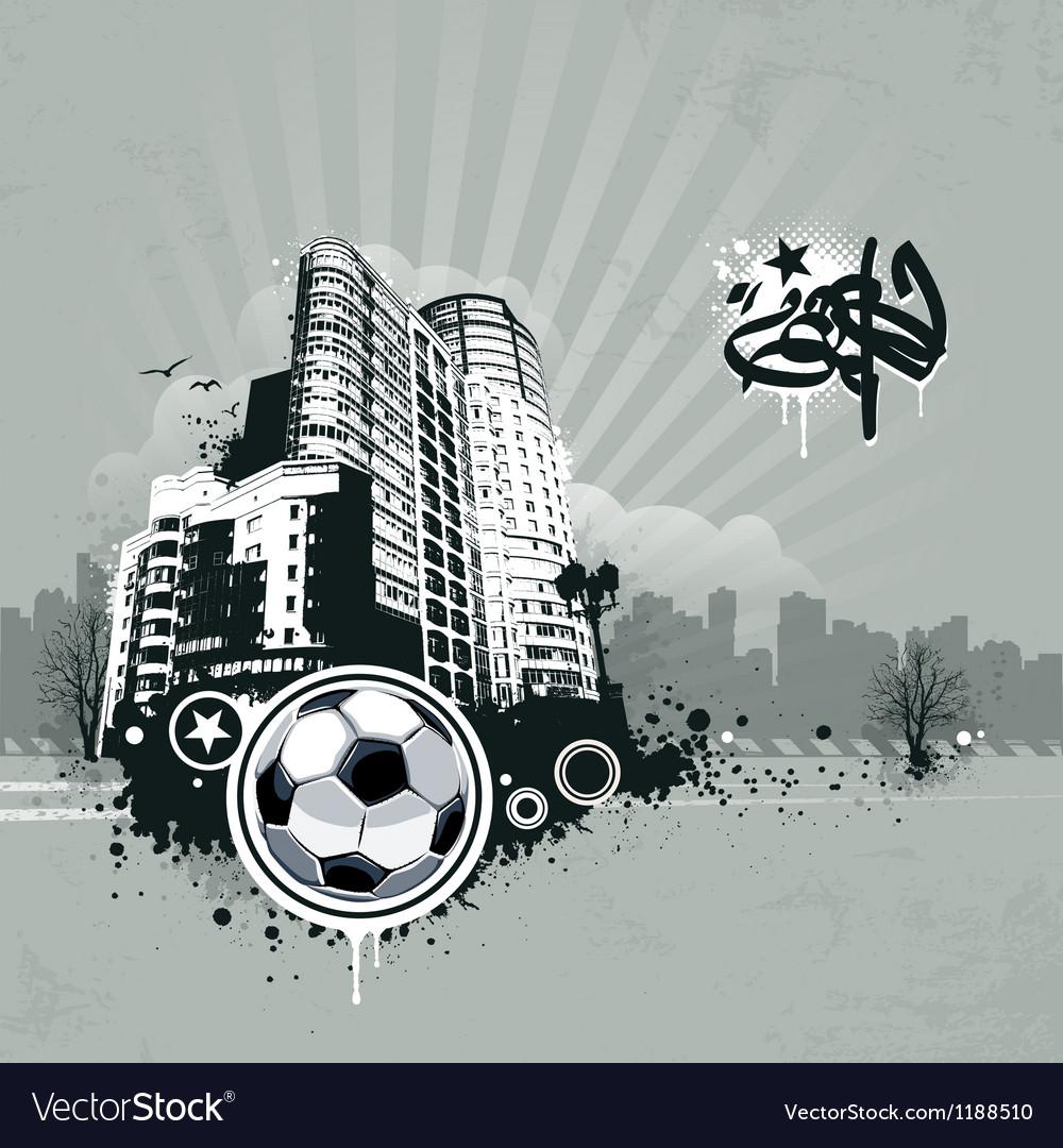 Grunge urban soccer background