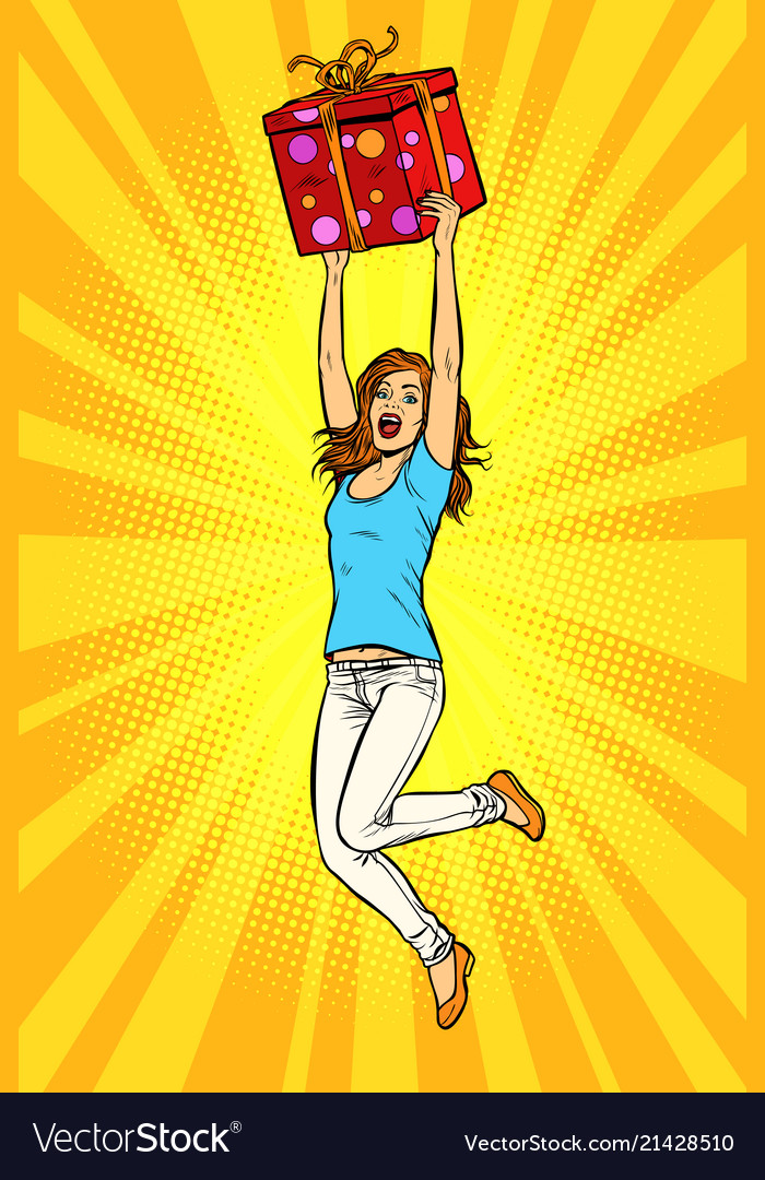 Joyful young woman jumping up with a gift