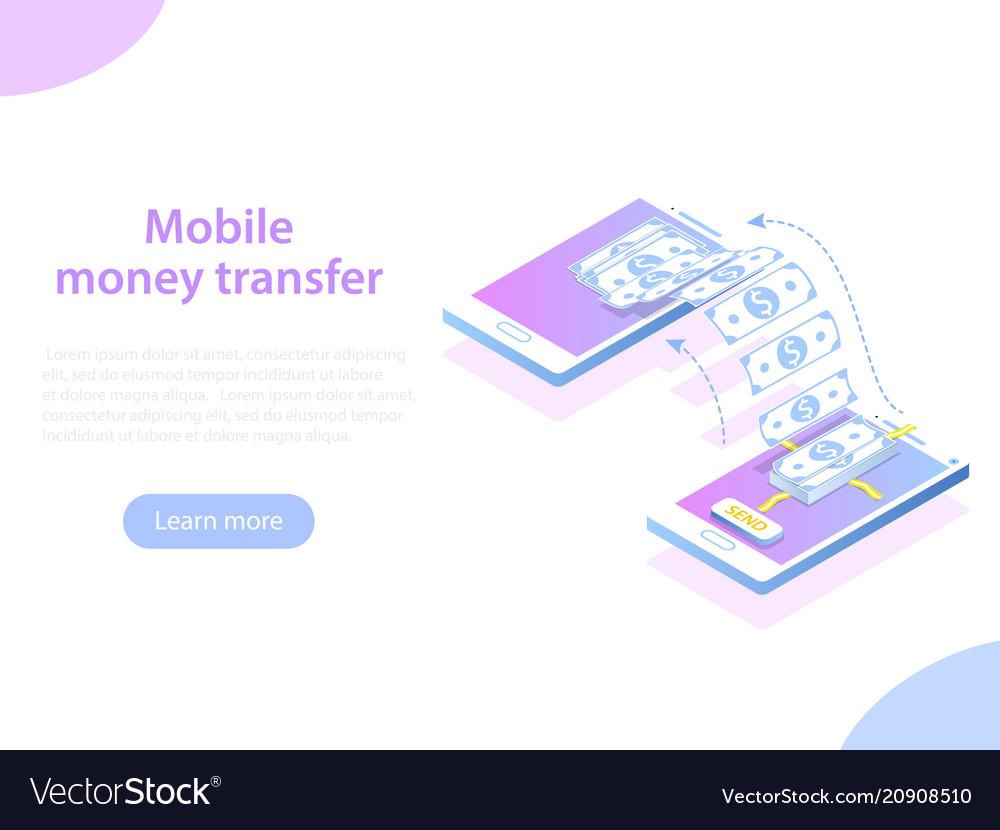 Mobile money transfer isometric concept