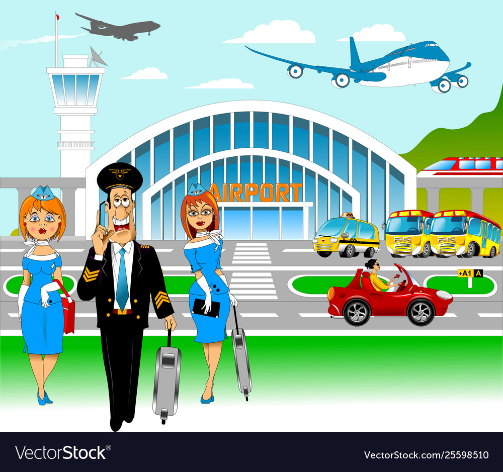 Pilot and flight attendants at airport