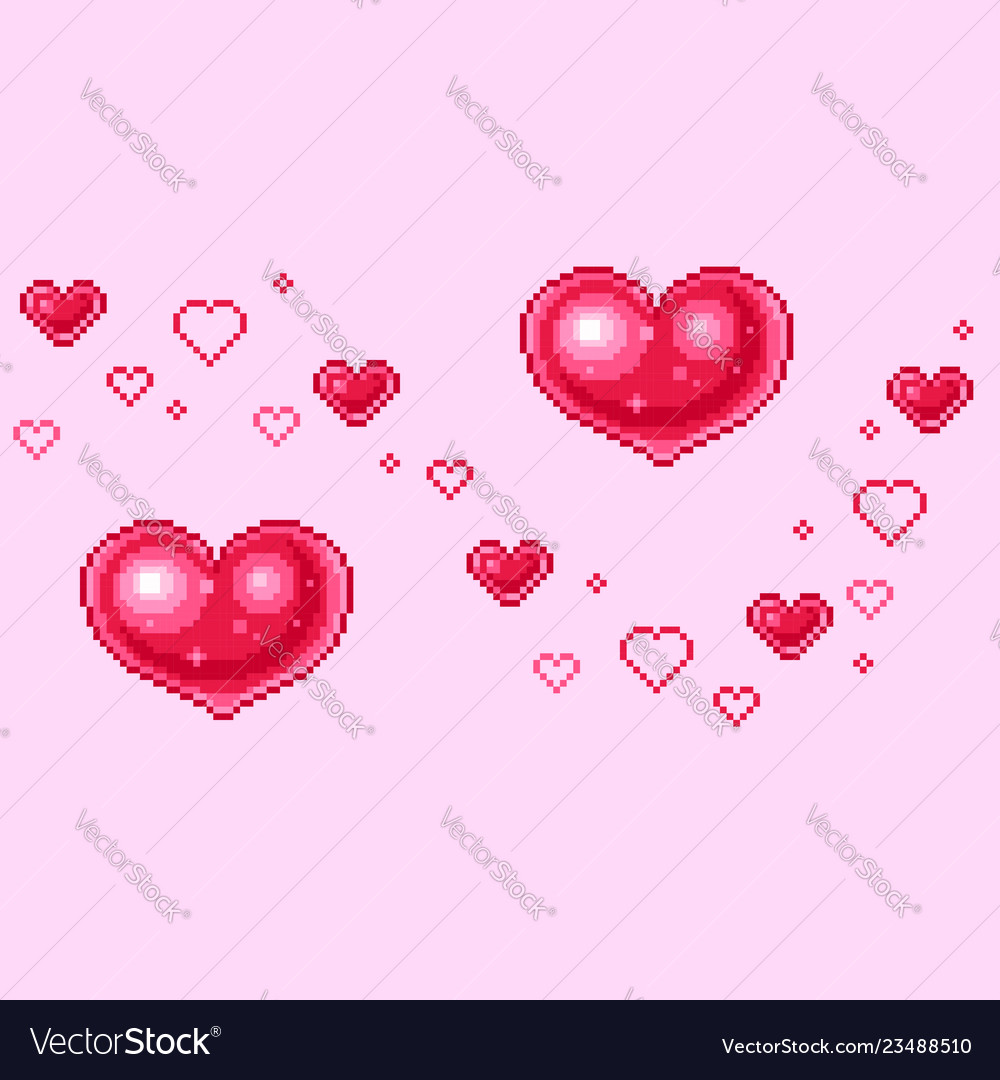Pixel hearts for valentines day greetings