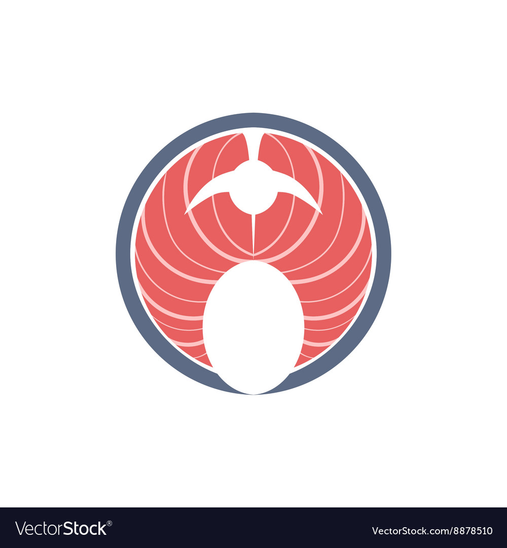 Red Fish Steak Icon vector image