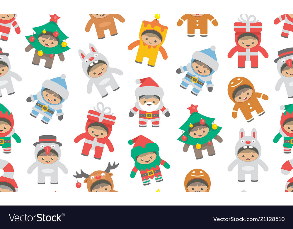 Seamless pattern with kids in christmas costumes