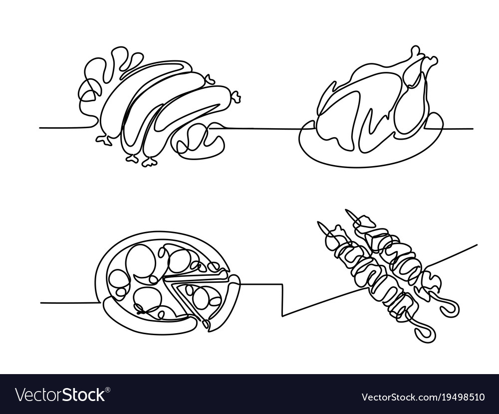 Set Continuous Line Drawing Food Royalty Free Vector Image