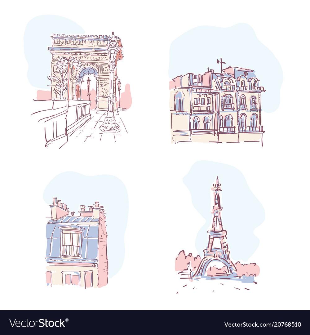 Set of of paris landmarks