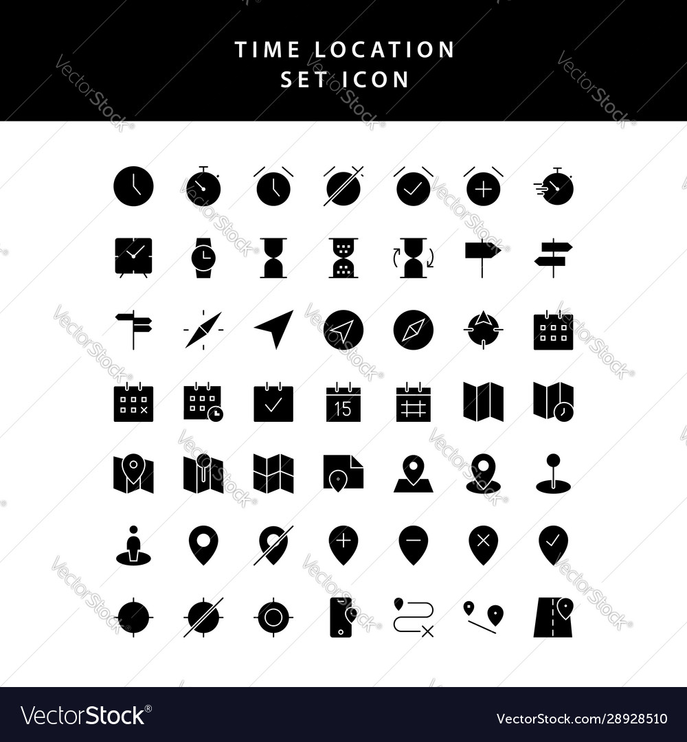 Time location glyph style icon set