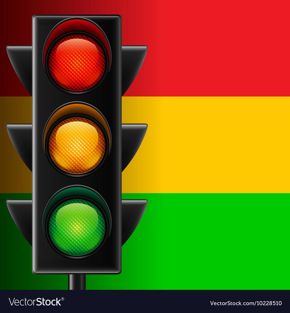 Traffic light on striped background