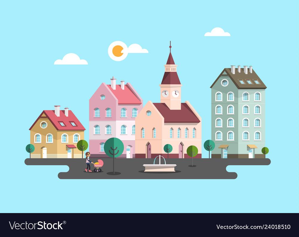 Urban landscape flat design city with buildings