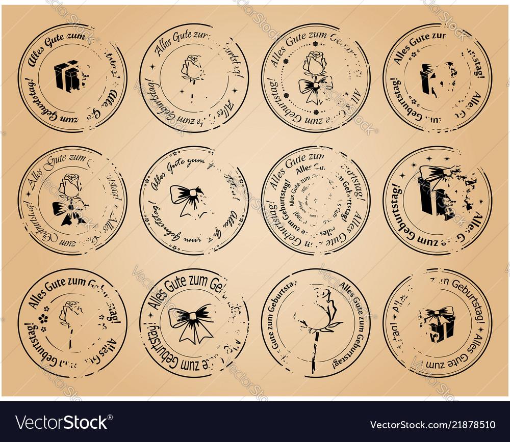 Vintage postage stamps happy birthday on german