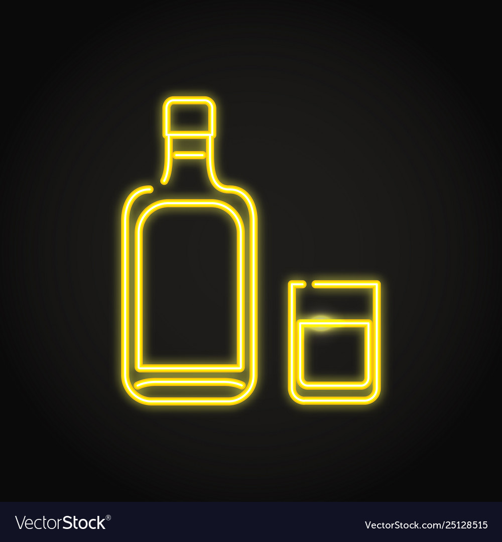 Alcohol bottle and glass icon in neon line style